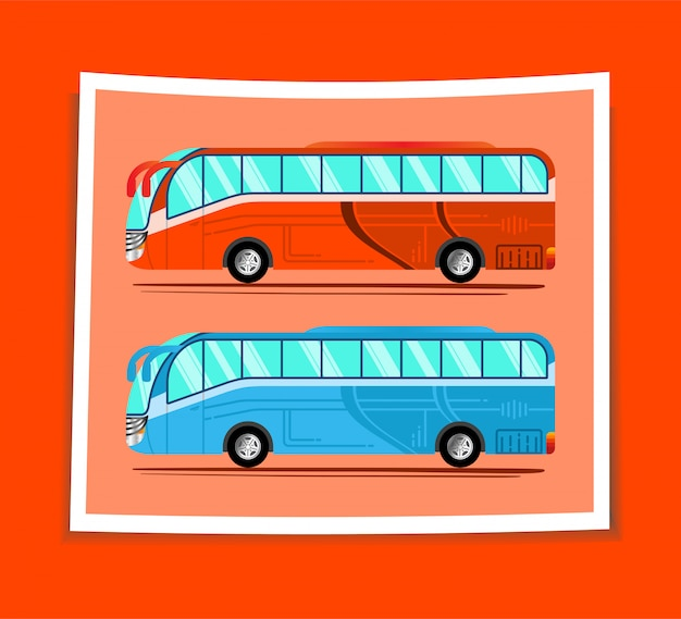 Ilustrasi dua mobil bus