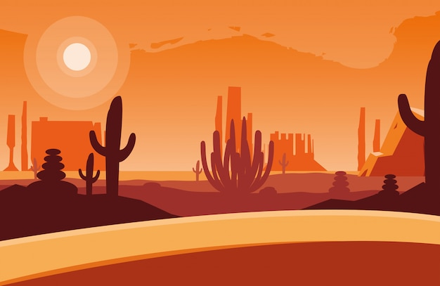 Ilustrate dell'icona dell'icona di scena del paesaggio del deserto