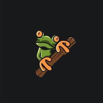 Ilustration di progettazione di logo della rana verde