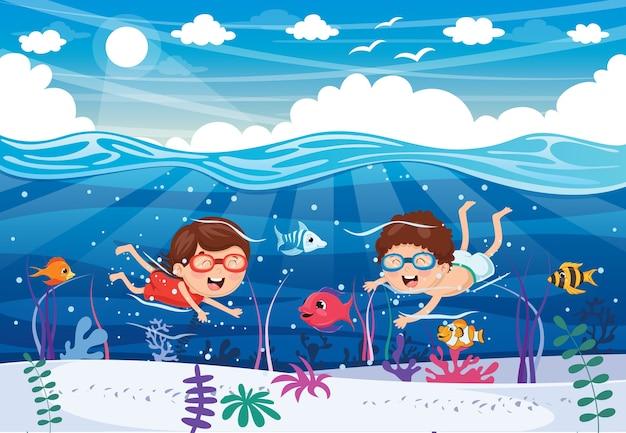 Ilustration of summer kids