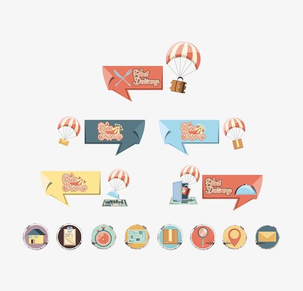 Ilustration stabilito di vettore dell'icona delle icone di servizio di distribuzione dell'alimento