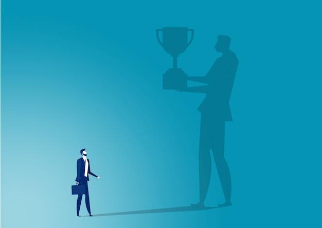 Imaging aziendale verso il premio per il lavoro di successo.