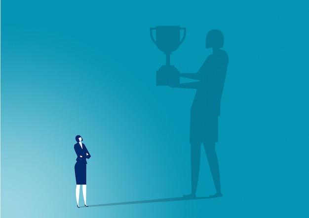 Imaging della donna di affari verso il premio per l'illustrazione del lavoro di successo