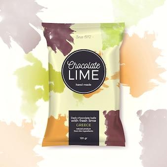 Imballaggio colorato al lime e cioccolato