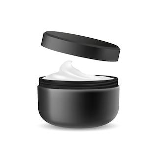 Imballaggio cosmetico nero aperto per crema isolata su bianco.