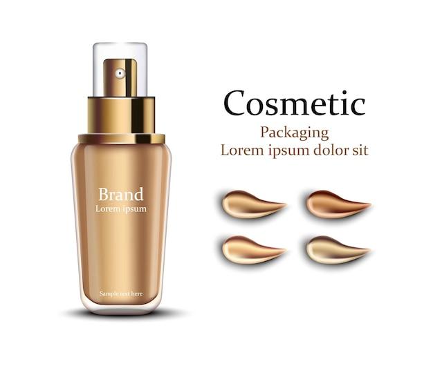 Imballaggio cosmetico per fondotinta. disegni di prodotti realistici