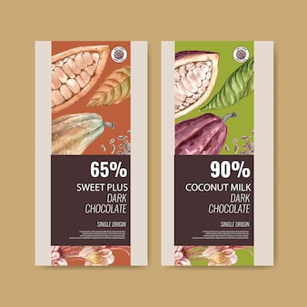 Imballaggio del cioccolato con gli ingredienti ramo di cacao, illustrazione dell'acquerello