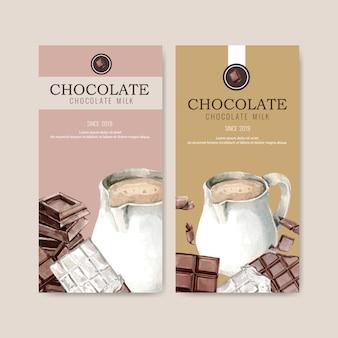 Imballaggio del cioccolato con latte brocca e barretta di cioccolato, illustrazione dell'acquerello