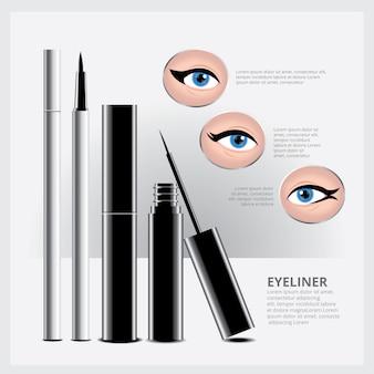 Imballaggio dell'eyeliner con tipi di trucco per gli occhi
