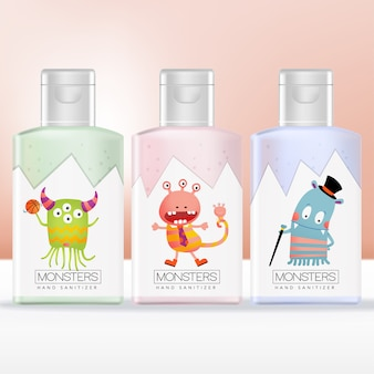 Imballaggio della bottiglia del prodotto disinfettante della mano dei bambini o dei bambini con il modello dell'illustrazione del mostro stampato. rosa, verde e blu.