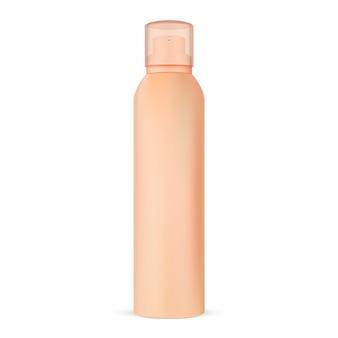 Imballaggio della latta della lacca per capelli. spruzzatore prodotto cosmetico.