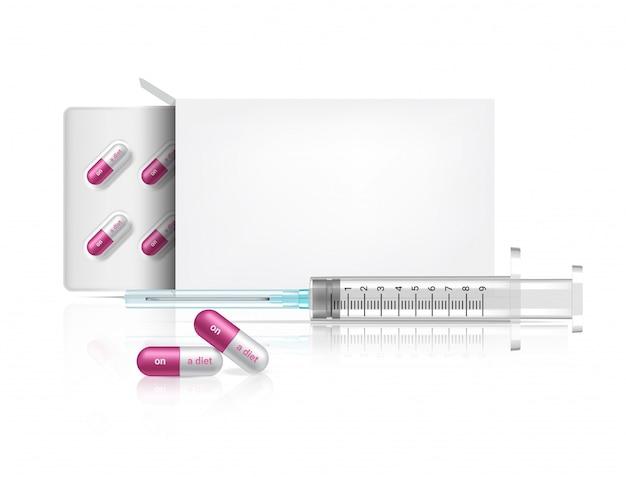 Imballaggio della scatola realistico sulla medicina della pillola della capsula di dieta su fondo bianco con la siringa