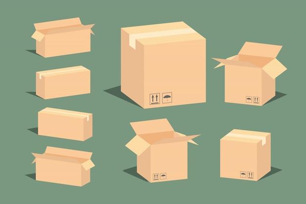 Imballaggio di consegna in cartone scatola aperta e chiusa con segni fragili.