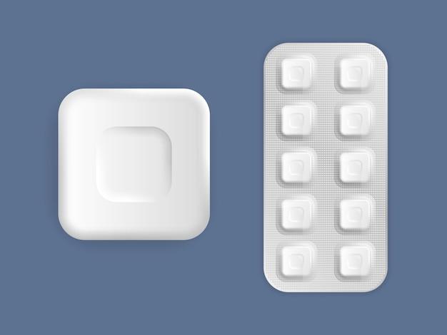Imballaggio di medicina 3d: antidolorifici, antibiotici, vitamine e compresse di aspirina. set di tablet nella confezione. pillole medicinali e confezioni di capsule, farmaci bianchi 3d e vitamine.