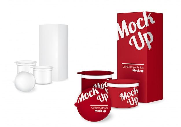 Imballaggio e scatola realistici della capsula del caffè 3d