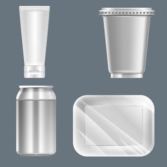 Imballaggio su sfondo grigio