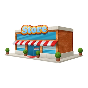 Immagazzini la costruzione del negozio di alimentari isolata su fondo bianco