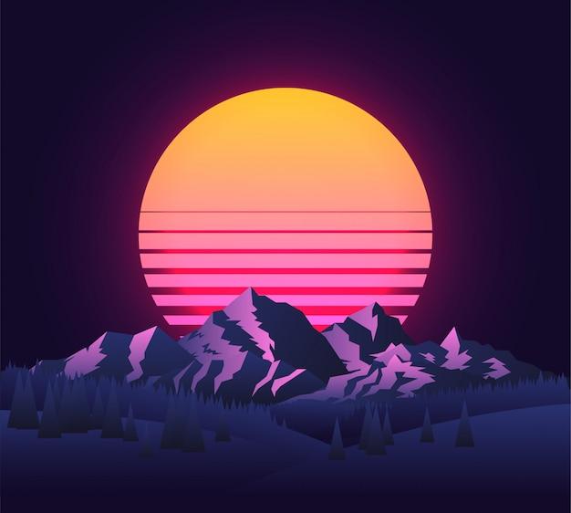 Immagine astratta di un paesaggio al tramonto
