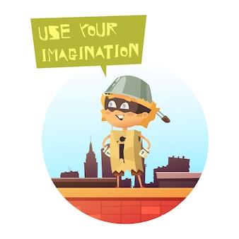 Immagine comica del bambino che sta sul tetto della costruzione della città in costume del supereroe fatto