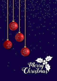 Immagine composita buon natale, palla rossa, nevica