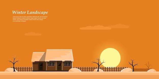Immagine del bellissimo tramonto invernale colorato, casa privata del cottage, illustrazione di stile