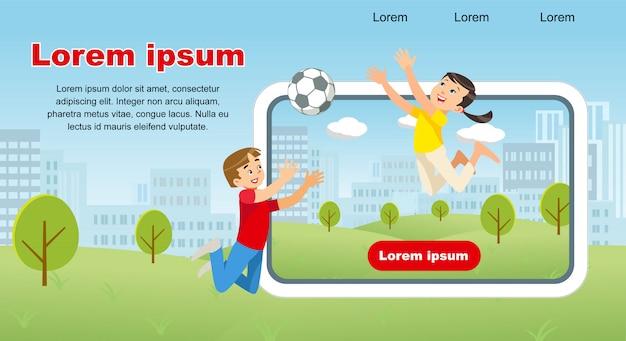 Immagine del concetto di vettore happy kids gioco soccer ball
