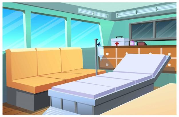 Immagine del fumetto della stanza del pronto soccorso che si muove in un'automobile.