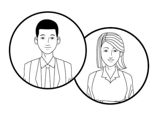 Immagine del profilo avatar coppia di affari in tondo
