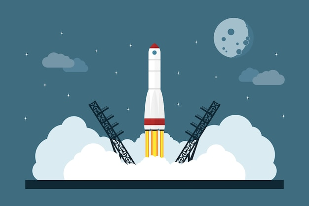 Immagine dell'avvio di un razzo spaziale, concetto di stile per l'avvio di un'impresa, nuovo servizio o lancio di prodotti