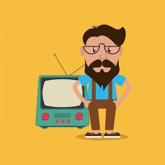 Immagine dell'emblema della retro televisione