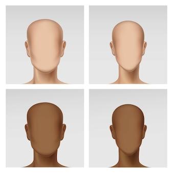 Immagine dell'icona della testa di profilo dell'avatar del maschio femminile multinazionale messa su fondo