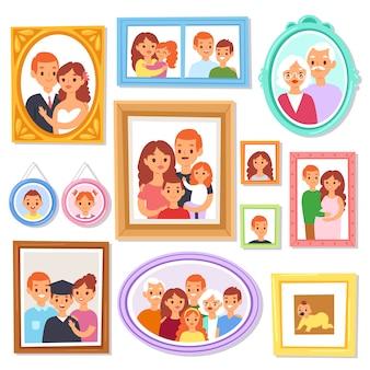 Immagine dell'inquadratura della pagina o foto di famiglia sulla parete per l'insieme dell'illustrazione della decorazione del confine decorativo d'annata per fotografia con i bambini ed i genitori su fondo bianco
