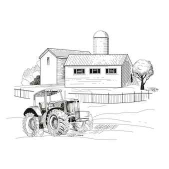 Immagine della fattoria, case e un trattore. schizzo disegnato a mano illustrazione vettoriale