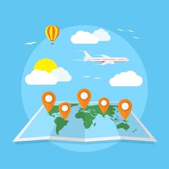 Immagine della mappa del mondo con puntatori, nuvole, palloncino e aereo, viaggi in tutto il mondo, concetto di vacanza, illustrazione di stile