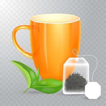 Immagine della tazza gialla della porcellana e foglie di menta verdi alla piramide del tè con l'etichetta in bianco isolata su fondo trasparente