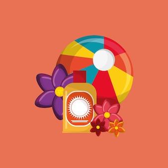 Immagine delle icone di viaggio vacanza pallone da spiaggia