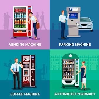 Immagine di concetto del distributore automatico con parcheggio e macchine da caffè