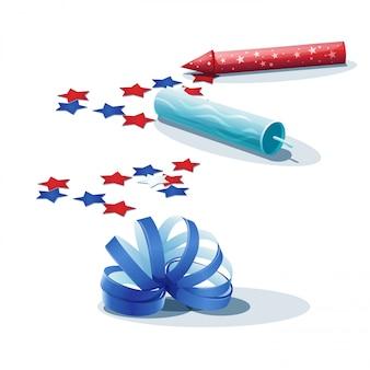 Immagine di coriandoli, stelle filanti e cracker.