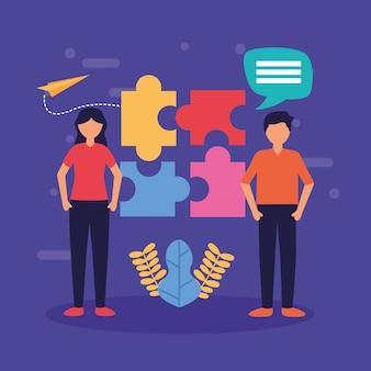 Immagine di design piatto di lavoro di squadra persone