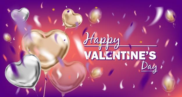 Immagine di felice giorno di san valentino viola con bouquet mongolfiera