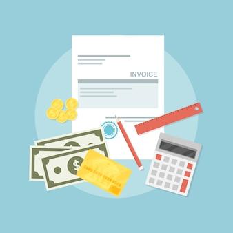Immagine di foglio fattura, penna, calcolatrice, righello, monete, banconote e carta di credito, illustrazione di stile, concetto di pagamento fattura