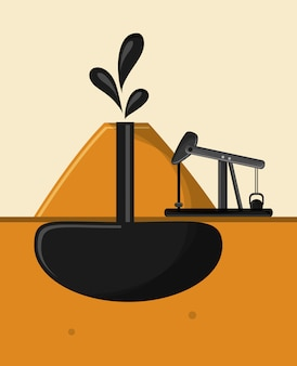 Immagine di icone di estrazione e raffinazione di petrolio