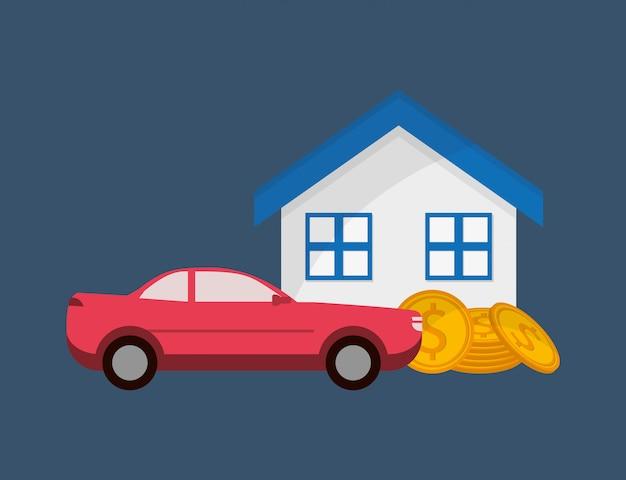 Immagine di icone di vendita di stato e auto