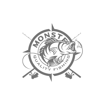 Immagine di logo di pesca d'epoca