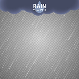 Immagine di pioggia trasparente. vector rainy cloudy background