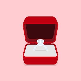 Immagine di un anello con diamante, illustrazione di stile