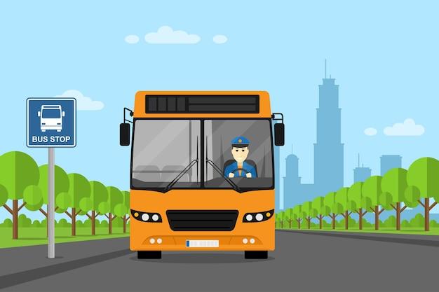 Immagine di un autobus con autista di autobus all'interno, in piedi sulla fermata dell'autobus, illustrazione di stile