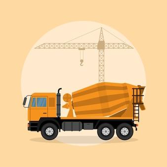 Immagine di un camion betoniera con gru di sollevamento sullo sfondo, illustrazione di stile