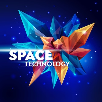 Immagine di un cristallo sfaccettato. tecnologia spaziale. asteroide di vetro nello spazio esterno. figura geometrica astratta su un blu scuro. banner futuristico. illustrazione di stile 3d
