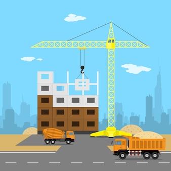 Immagine di un processo di costruzione di una casa, gru, autocarro con cassone ribaltabile, betoniera, sabbia, silhouette di una grande città sullo sfondo, illustrazione di stile